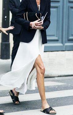 Blazer, white maxi dress, and slide sandals