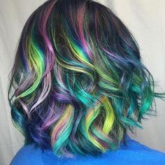 "35 Likes, 2 Comments - 💗Hair Candy LLC💗🌈✂️🍭🎨 (@haircandymd) on Instagram: ""#btconeshot_rainbow16 #blacksheepartistry #rainbowhair #neon @arcticfoxhaircolor MoringapleX…"""