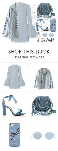 """""""DENIM CONTEST"""" by vjerph ❤ liked on Polyvore featuring Marques'Almeida, Alexandre Birman, Skinnydip, Oliver Peoples and Anne Klein"""