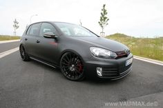 Matte black GTI. Most flat black paint jobs look like primer sealant but this one works. Maybe tint the windows too.