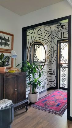 Exiting 2017 with an Entry Review (and a THANK YOU) — CARMEON HAMILTON Room Inspiration, Interior Inspiration, Interior Ideas, Hand Painted Walls, Hand Painted Wallpaper, Black Painted Walls, White Wallpaper, Room Wallpaper, My New Room