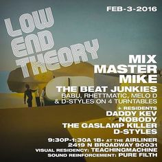Things I miss about being in LA Local Shows like this.  #LowEndTheory 2/3: MIX MASTER MIKE THE BEAT JUNKIES (Babu Rhettmatic Melo D & D-Styles on 4 turntables) @daddykev @nobodybeats@gaslampkiller @djdstyles#lowendtheory #HipHop #Vinyl #Turntablist #Turntablism #Turntable #DJLife #ScratchLife #LA #LosAngeles #엘에이 #영행 #턴테이블 #디제이 #디제이라이프 #스크래치 #스크래치라이프 #힙합 #턴테이블리즘 #디제잉 #바늘 #카트리지 #디제잉 #디제이쇼 #스톤스로우 #스톤즈스로우 #바이닐 #켈리포니아 by joezinho.official