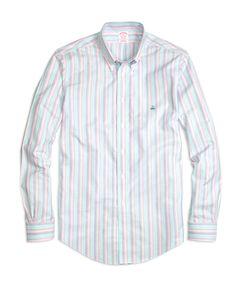 64a43736b Madison Fit Oxford Stripe Sport Shirt Flannel Shirt