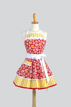 Ruffled Retro Apron , Handmade Flirty Full Womens Apron in White Red and Yellow Daisies and Chevrons
