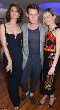 Cannes 2014.   French fun: Matt Smith poses with Lily James (R)  and Gemma Arterton (L)