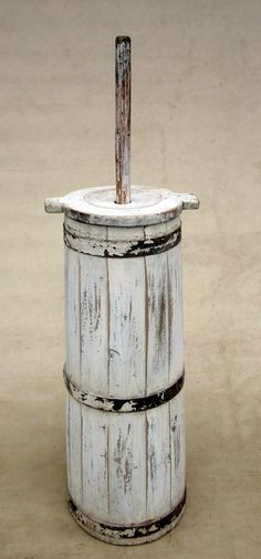 Antique Primitive White Butter Churn Made of Oak Tree | eBay