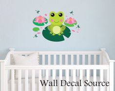 Large Frog on Lilypad - Nursery Wall Decal - Vinyl Frog Decal via Etsy