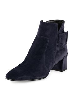 Polly Suede Ankle Boot, Navy by Roger Vivier at Neiman Marcus. I need these in my life!