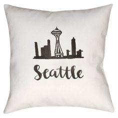 """Surya Souvenir Seattle Pillow - White/Black (18"""" x 18"""") : Target"""