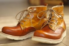 【受注生産 価格改定】本格派の本革靴 コンビカラーの外羽ブーツ