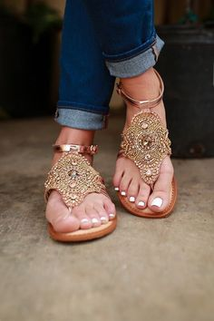 672ede812b9 15 Shoes To Wear Everyday and Stay Attractive and Fresh - Gold embellished  high society sandal. Very Indian summer. The Best of sandals in