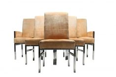 Milo Baughman Style Chrome and Suede Dining Chairs