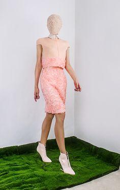 Nigel Chia Fall 2015 Look 8 Bi-tone top, floral skirt www.nigelchia.com