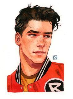 "kevinwada: "" Robin headshot Based on Gabriel Picolo's Teen Titans designs "" Teen Titans Robin, Teen Titans Fanart, Teen Titans Go, Teen Titans Characters, The New Teen Titans, Character Design Teen, Boy Character, Character Inspiration, Robin Comics"