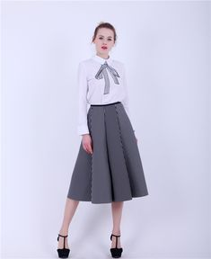 Women New Black And White Vertical Striped Long Skirt Space Cotton Fashion OL Ball Gown Umbrella Skirt Like and Share if you agree! Visit us