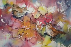 Autumn Wrens original watercolor painting by LeslieRedheadArt,
