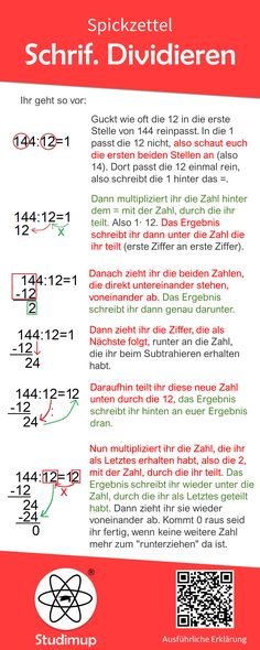 Schriftlich Dividieren Spickzettel Math cheat sheet for the written division. Step-by-step explanation using an example of how to divide correctly in writing. More explanations, examples, worksheets e Math Cheat Sheet, Cheat Sheets, Mathematics Geometry, Simply Learning, German Language Learning, Fun Math Games, Elementary Math, In Writing, Algebra