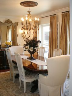 Dramatic Design in Spice Up Your Dining Room With Stylish Slipcovers from HGTV