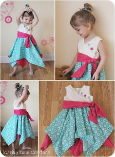 "Pixie Dust Dress  ~  first get free party dress pattern from ""The Cottage Mama"", then continue with the directions on this site"