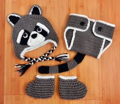 Crochet Raccoon Hat Diaper Cover Booties by CrochetBySumy on Etsy