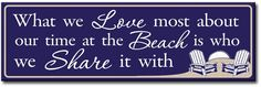 What We Love Most About Our Time At The Beach Is Who We Share It With Wood Sign