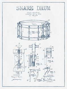 Snare Drum Patent Drawing From 1910  - Blue Ink Drawing by Aged Pixel