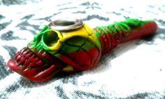 Tie Dye Colors Snake Skull Tobacco Smoking Pipe Small Bowl Metal Lip Non Glass