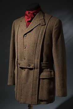 Henry Poole Norfolk jacket. After the first World War, tweed became the great social leveler of casual and sports clothes for men in Great Britain. By the 1930s, tweed suits and jackets were worn for country daywear, golf, hunting and fishing, and leisure hiking. The Henry Poole tweed Norfolk jacket, with its bellows pockets, reinforced vertical straps, and belt, is a classic example of the country genre. Brown wool tweed Norfolk jacket, circa 1935, London, gift of the Estate of Kay Kerr…