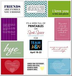 Printables for Team Marisa & Wellesley