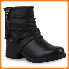 Warm Gefütterte Damen Biker Boots Stiefeletten Used Winter Zipper Winterboots Leder-Optik Damen Schuhe 110258 Schwarz 40 | Flandell® (*Partner Link)