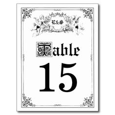 Fairy Tale Storybook Wedding Table Numbers Post Card