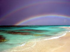 A perfect double rainbow over Shoal Bay East, Anguilla