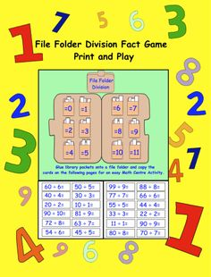 File Folder Division Activity (PDF) for gr. Teaching Tips, Teaching Math, Maths, Division Activities, Math Division, 4th Grade Multiplication, 4th Grade Math, File Folder Activities, File Folder Games