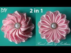Цветок из ленты 2 В 1 Канзаши DIY Flower of ribbon Kanzashi - YouTube