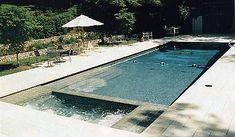 Custom Pool Design Rectangular Pool With Flush Spa Sunledge Volleyball Net Custom Pool