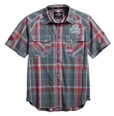 Free shipping over $99 - Harley-Davidson Men's SYN3 Contrast Short Sleeve Plaid Woven Shirt 96150-16VM - Essentials/Shirts & Hoodies/Mens Tops/Long Sleeve Tees - Mens/Shirts & Hoodies/Long Sleeve T-Shirts