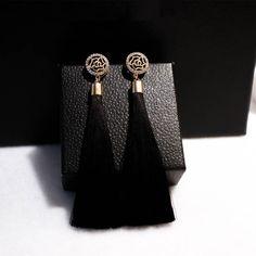 Chapado en oro Nuevo Rojo/Azul/Negro Pendientes de La Borla Larga para Las Mujeres bijoux Flor de Perlas de Cristal de Joyería de Moda Ear056