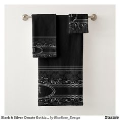 Black & Silver Ornate Gothic Monogrammed Bath Towel Set Bath Towel Sets, Bath Towels, Gothic Bathroom, Gothic Bed, Vintage Fonts, Artwork Design, Etsy Handmade, Black Silver, Colorful Backgrounds