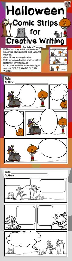 """Help students develop their narrative creative writing skills (CCRA.W.3) by practicing dialogue (W.3.3b, W.4.3b, W.5.3b) with these 6 comic strip mini-stories featuring cute, """"scary"""" Halloween characters.   The strips have blank speech and thought bubbles for students to write in. Students can also draw/color/design their own settings and other details."""