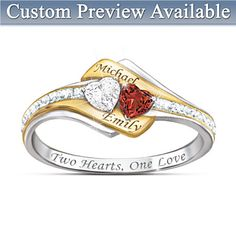 Two Hearts Become One Personalized Gemstone