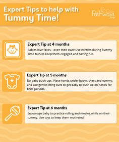 Is baby getting pretty good at Tummy Time? Then try out some of these Tummy Time tips, recommended by experts to build on your child's skills! Check out the Pathways.org Tummy Time page for even more tips and ideas! #tummytime #tummytimetips #infantdevelopment #babydevelopment #parentingtips #babytips #TummyTimeactivities #motorskills #physio #pediatrictherapy #pediatrics #newmom #newdad #4monthold #5monthold #6monthold Need To Meet, Get Baby, Baby Development, Songs To Sing, New Dads, Tummy Time, Baby Hacks, Baby Month By Month, Pediatrics