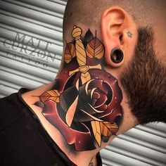 Men's neck tattoo, with a dagger piercing a dark red rose. Rose And Dagger Tattoo, Rose Neck Tattoo, Throat Tattoo, Neck Tattoo For Guys, Rose Tattoos, Body Art Tattoos, Sleeve Tattoos, Tattoos For Guys, Neck Tattoos
