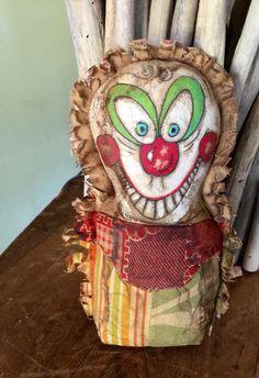 OOAK Vintage Carnival Clown Punks Cute Creepy Stump Cabinet Doll  Primitive  Payaso Handmade Circus Games by KloppStudio on Etsy https://www.etsy.com/listing/288853151/ooak-vintage-carnival-clown-punks-cute