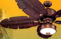 Ceiling fans Tropical style are extremely popular for the outdoor porch and sunroom or just to give the distinct tropical look to a room come see lowest prices. Copper Ceiling Fan, Ceiling Fan In Kitchen, Home Ceiling, Ceiling Lights, Tropical Style, Tropical Decor, Safari Room Decor, Jungle Bathroom, Tropical Ceiling Fans