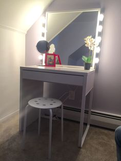Made with all IKEA products ! Purchased separately - mirror, desk, 2 strips of lights, stool . Perfect for my 10yr old daughter's birthday. Micke desk $49.99 Stave mirror $29.99 Musik lights $15.99 ea Marius $4.99 Total $116.95 w/o taxes