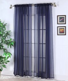Navy Abby Sheer Voile Curtain Panel - Set of Two by Chic Home Design on #zulily