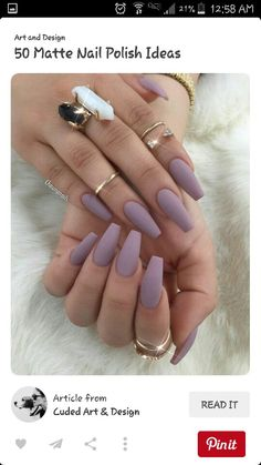 Matte lavender coffin nails