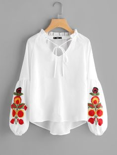 SheIn offers Frill Tie Neck Embroidered Lantern Sleeve Top & more to fit your fashionable needs. Kurta Designs, Blouse Designs, Cute Dresses, Casual Dresses, Fashion Dresses, Casual Wear, Summer Dresses, Mexican Fashion, Pakistani Dresses Casual