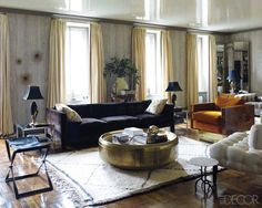 """JACKIE ASTIER'S MANHATTAN LIVING ROOM    """"I love the mix of unexpected colors and textures that make the room look like it has been there forever -- in a good way! Each piece looks like it was chosen with the utmost restraint and a talented eye, making the room highly sophisticated, inviting, and yummy.""""    -Designer Abby Wolf-Weiss"""