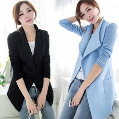 New Women's Lapel Slim Long Woolen Overcoat Stitching Knitting Sleeves Jackets Coat